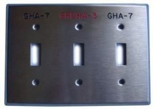 3-gang engraved stainless steel switch plate device cover with red and black permanent markings