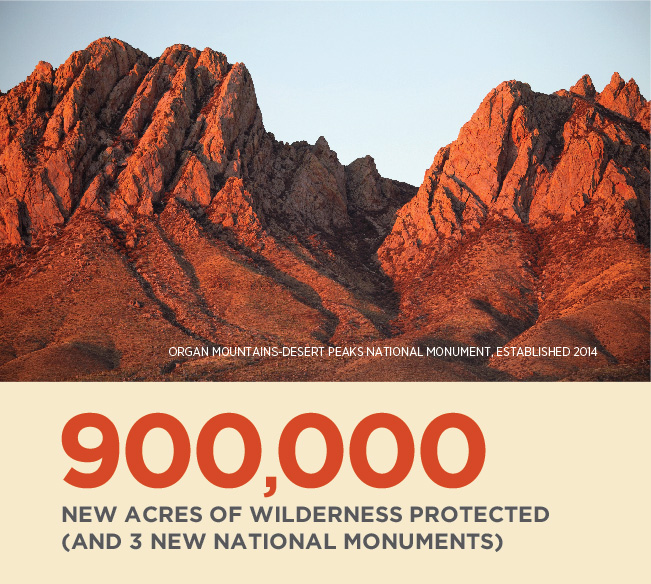 900,000 new acres of wilderness protected (and three new national monuments).