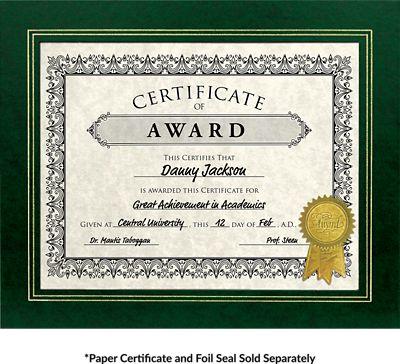Blank 10 3/4 x 13 Certificate Frame w/ Easel-Green Print | Folders.com