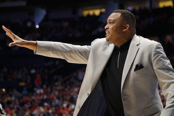 Georgia State Head Basketball Coach Ron Hunter gives directions to players