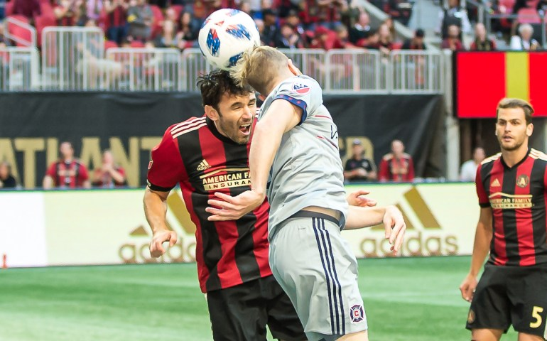 Atlanta United player uses his head to control the ball