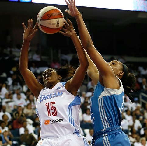 Tiffany Hayes goes to the basket for a shot
