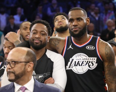Lebron James and Dwayne Wade at the 2019 All Star Game