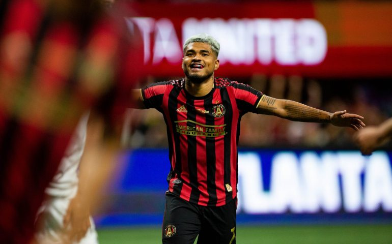 Josef Martinez celebrates Atlanta United winning the US Open Cup Tuesday night.