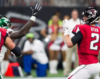 Matt Ryan throws a pass against the New York Jets in preseason football #NFL, #dirtybirds, #falcons, #inbrotherhood, #atlantafalcons, #ATL, #ASN