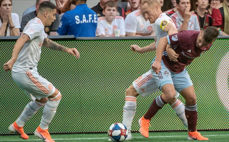 Jeff Larentowicz fights for the ball during Atlanta United FC match #atlutd, #uniteandconquer, #MLS, #soccer,
