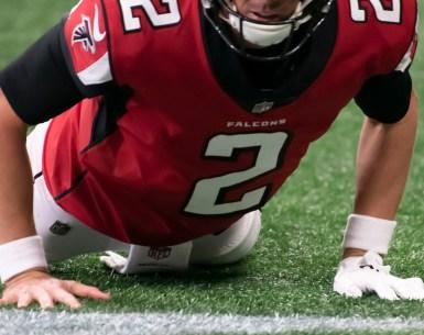 Matt Ryan picks himself off the ground after the loss in Minnesota #NFL, #dirtybirds, #falcons, #inbrotherhood, #atlantafalcons, #ATL, #ASN