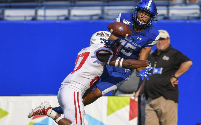 Sam Pickney catches a pass against Arkansas State for Homecoming 2019 #lightitblue #ourcity #thestateway