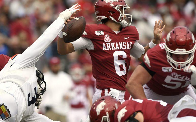 Marlon Davidson pressures QB Ben Hick for Arkansas in Auburn Football Action
