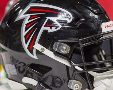 Atlanta Falcons helmet resting during a game at Mercedes Benz Stadium #NFL, #dirtybirds, #falcons, #inbrotherhood, #atlantafalcons, #ATL, #ASN #nfc, #nfcsouth,