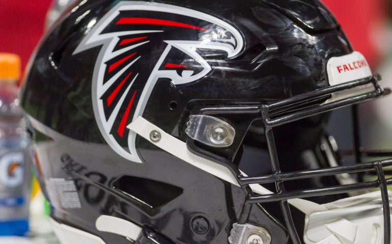 Atlanta Falcons helmet resting during a game at Mercedes Benz Stadium #NFL, #dirtybirds, #falcons, #inbrotherhood, #atlantafalcons, #ATL, #ASN #nfc, #nfcsouth,
