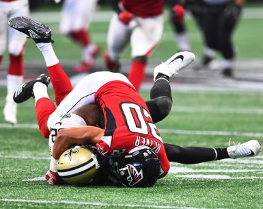 Isiah Oliver makes a tackle against the New Orleans Saints