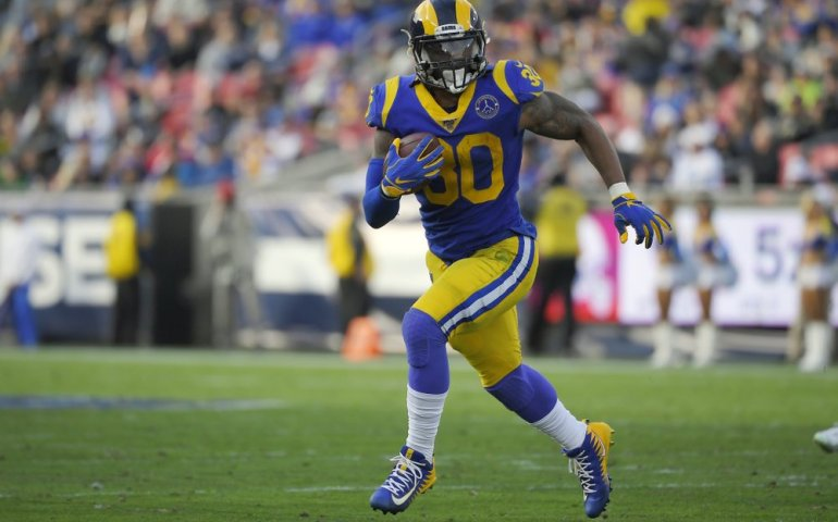 Former Los Angeles Rams running back Todd Gurley II rushes the ball #riseup, #atlantafalcons,