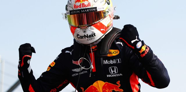 Verstappen times it right to secure 70th Anniversary Grand Prix win