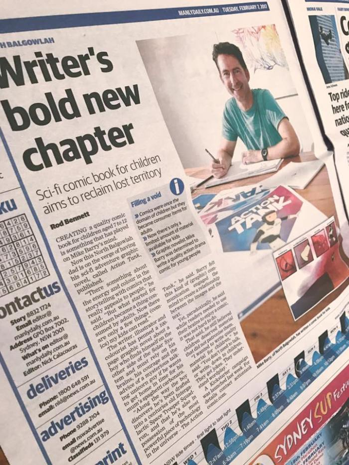 Mike Barry appears in a Sydney newspaper talking about the Action Tank graphic novel and Kickstarter campaign