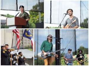Michele Matthews Schicchi, U.S. Army National Guard, Combat Medic, activated on 9/11 (Top Left). Waking April starts the day off right (Top Right). The National Anthem with Orlando Parker Junior and the City Honor Guard (Bottom Left). Hank Barbee & The Bust Parade keep spirits high throughout the event (Bottom Right).