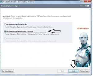 free eset license key to username and password