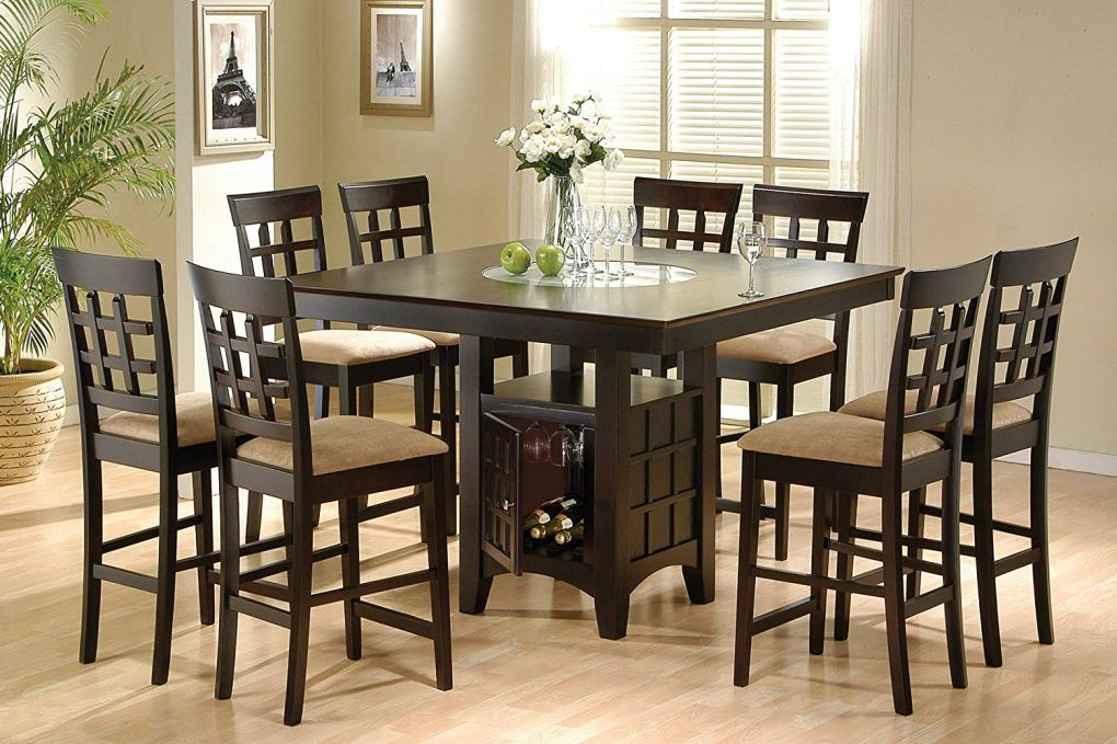9 Piece Counter Height Storage Dining Table