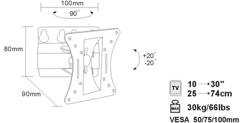 LCD Swivel flat panel TV or monitor wall mounting bracket