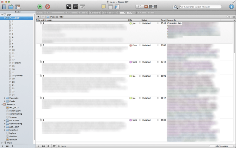 Scrivener's outliner mode.