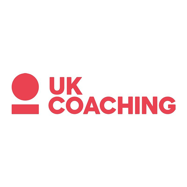 UK Coaching Logo with red block text on a white background