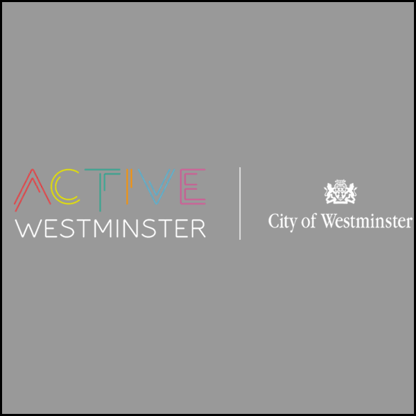 Full colour ActiveWestminster logo with white text