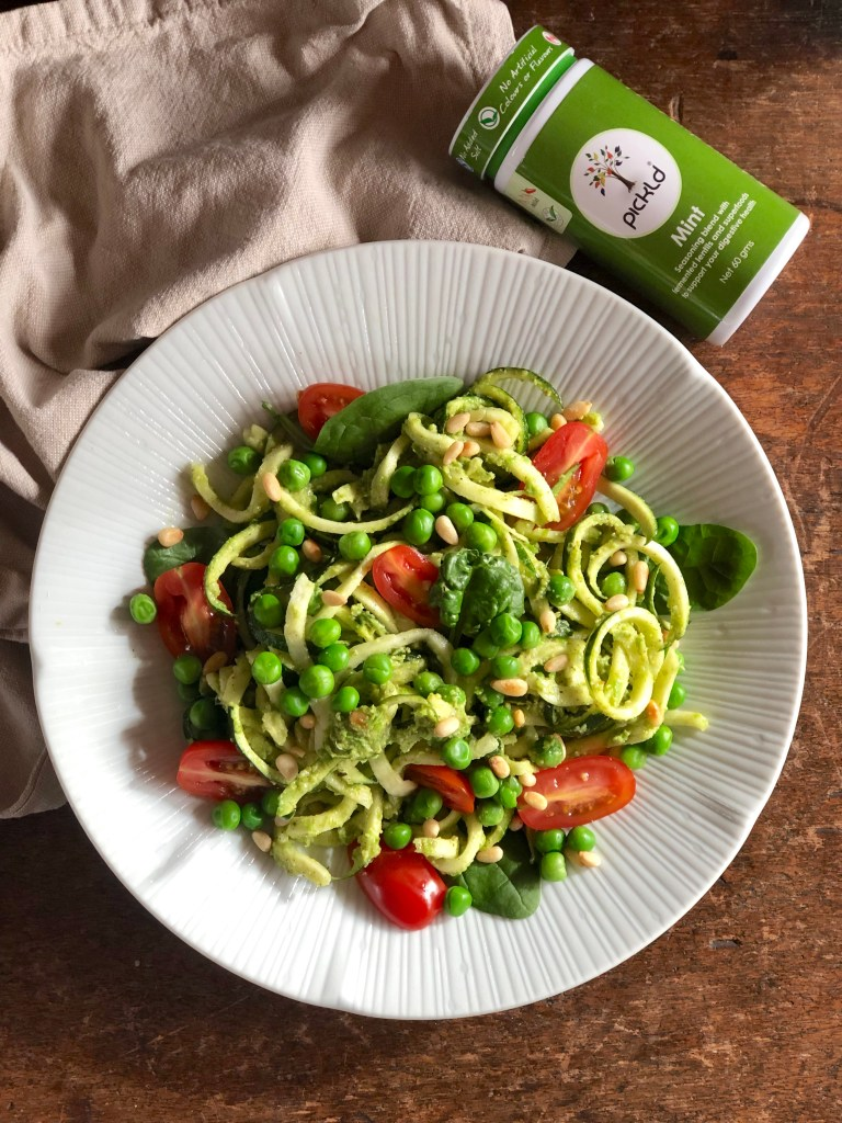 Easy, yummy and healthy pea and mint zoodles