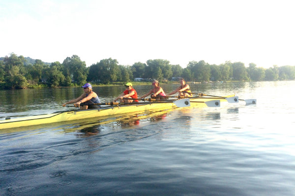 members of the steel city rowing club practice on the Allegheny River