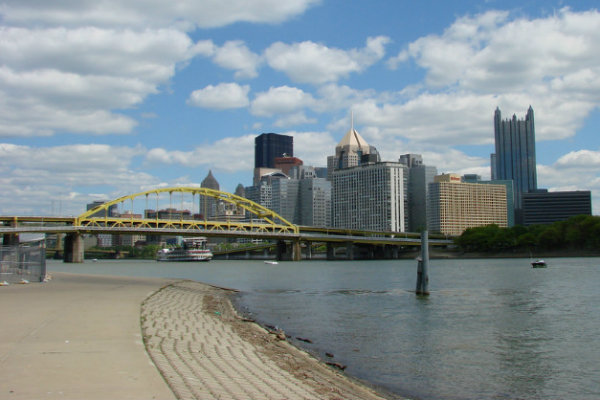 bike riding running and walking is enjoyed along the three rivers in pittsburgh pennsylvania