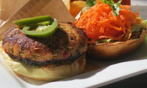 Wild Salmon Burger at Icebox Cafe