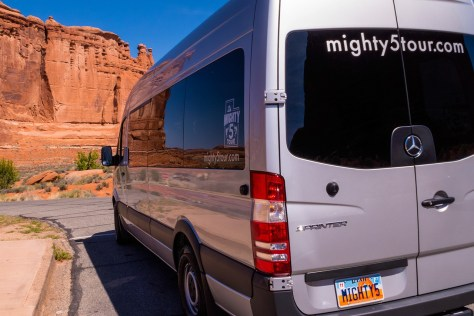 Mighty5Tour Sprinter Van at Arches National Park