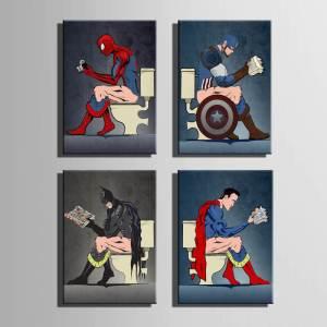 Funny Superhero Toilet 4 Piece Canvas