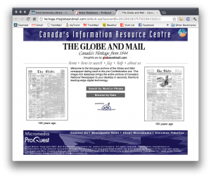 """The splash page for the Globe and Mail's """"Canada's Heritage Since 1844"""" website."""