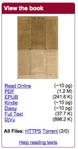 Every Archive entry has this, which gives you the various options to read: from online, to PDF, to plain text, to e-pubs.