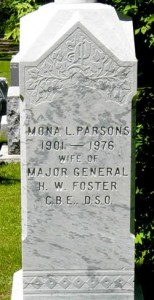 The only memorial to Parsons, her tomb stone.