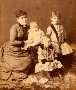 Adelaide Hoodless with three of her children, circa 1887