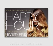 free happy hour hair salon flyer