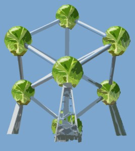 brussels sprout atomium blue background