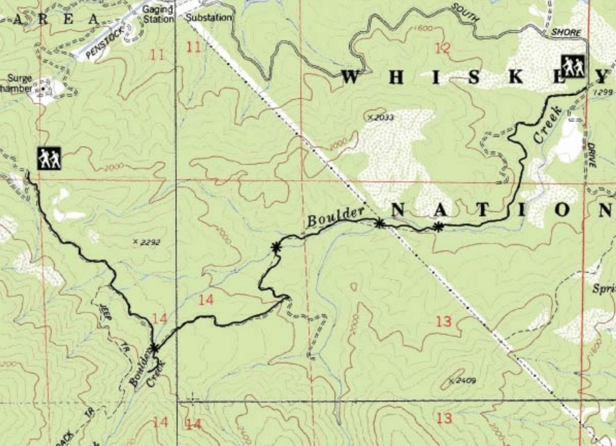 Boulder Creek Falls Map