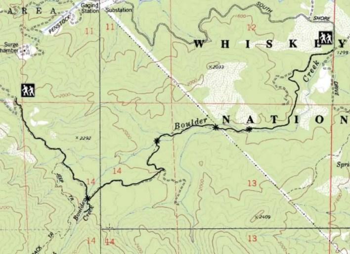 Boulder Creek Falls Map