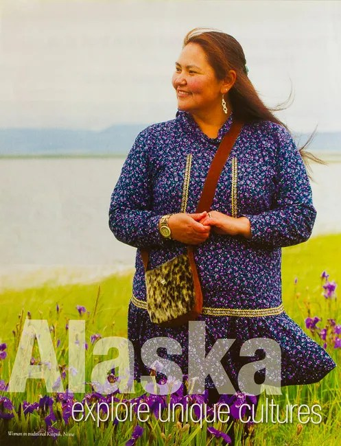 Behind the Lens – Sheri, an Inupiat Eskimo, as a full page in Alaska Vacation Planner