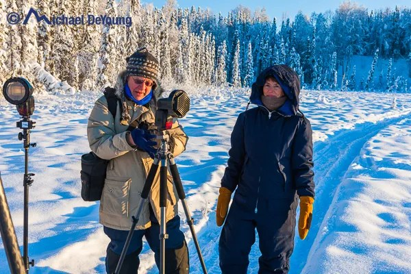Photographers with Canon Speedlites and Spinlight 360 light modifiers near Willow, Alaska