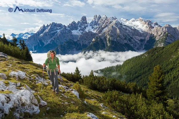 hiker on Alta Via 1, Dolomites