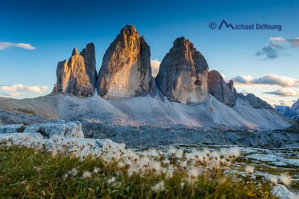 The Tre Cime/Drei Zinnen formation at sunset, Dolomites, Italyy