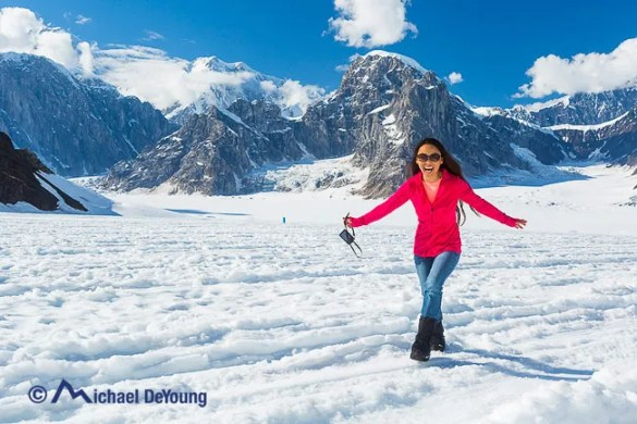 Walking around the snow in the Don Sheldon Amphitheater on a Talkeetna Air Taxi flight see around Mt. McKinley and glacier landing.