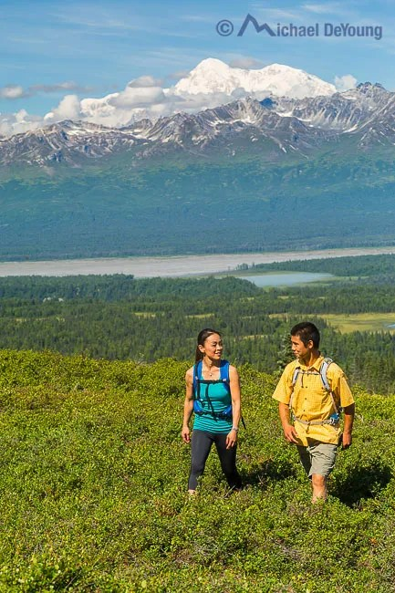 Hiking in Denali State Park with views of Chulitna River and the south side of Denali