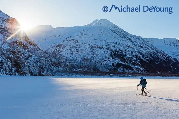 New Mexico Photographers Alaska Winter Lifestyle Photos - Snowshoer on Portage Lake
