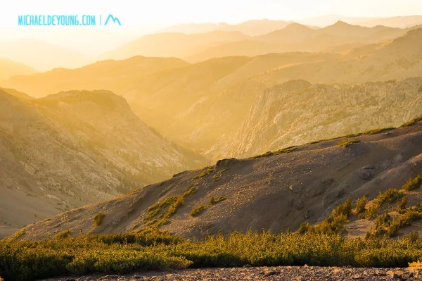 Back on the trail late in the day.  Sunset above Sonora Pass above 10,000 feet.
