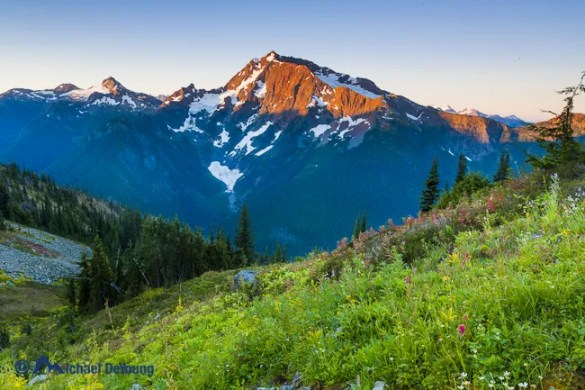 Sunrise landscape image along Devil's Ridge Trail with first light on Jack Mountain, Pasayten Wilderness, North Cascades, Washington
