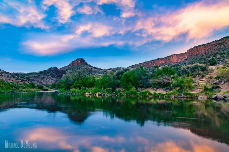 New Mexico landscape - Sunset on the Rio Grande near Taos, NM by Michael DeYoung